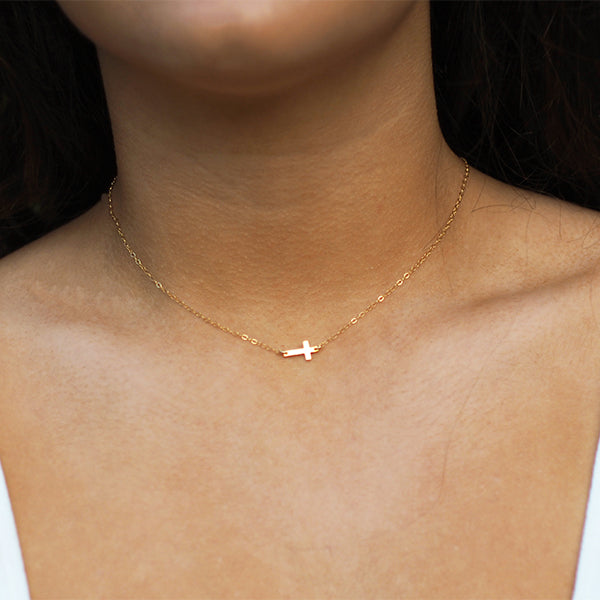 Gold Centered Cross Necklace