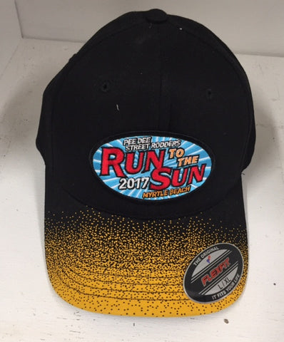 2017 Run to the Sun official car show event hat black and yellow fitted Myrtle Beach SC