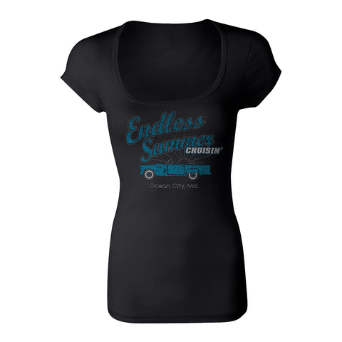 Cruisin Endless Summer official car show women black scoop neck t-shirt Ocean City MD