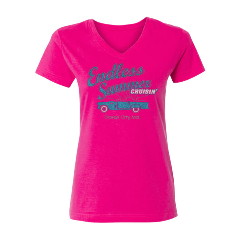 Cruisin Endless Summer official car show women hot pink v-neck t-shirt Ocean City MD