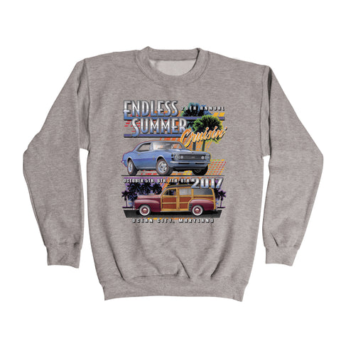 2017 Cruisin Endless Summer official car show event sweatshirt gray Ocean City MD