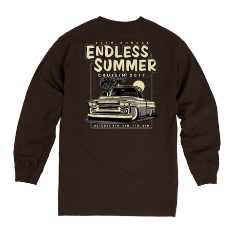 SALE - 2017 Cruisin Endless Summer official car show event long sleeve t-shirt brown Ocean City MD