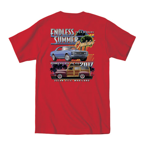 2017 Cruisin Endless Summer official car show event t-shirt red pocket Ocean City MD