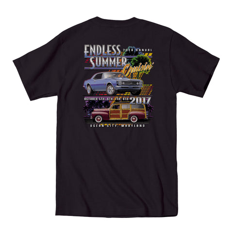 2017 Cruisin Endless Summer official car show event t-shirt black Ocean City MD