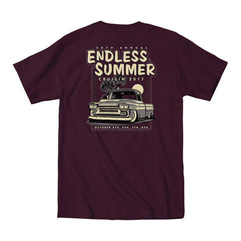 2017 Cruisin Endless Summer official car show event t-shirt maroon Ocean City MD
