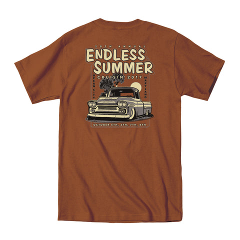 2017 Cruisin Endless Summer official car show event t-shirt texas orange Ocean City MD