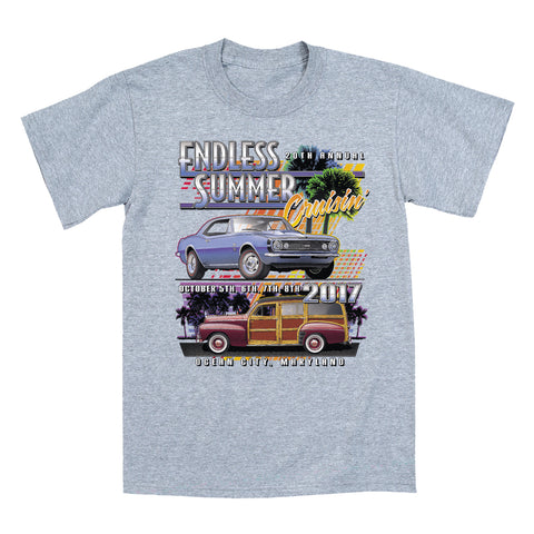 2017 Cruisin Endless Summer classic car show event youth t-shirt gray Ocean City MD