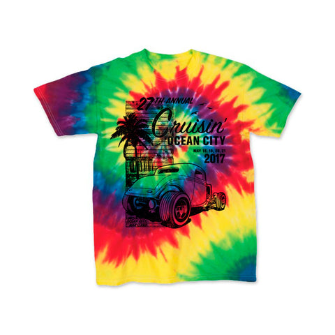 SALE 2017 Cruisin official classic car show event youth t-shirt rainbow tie dye Ocean City, MD