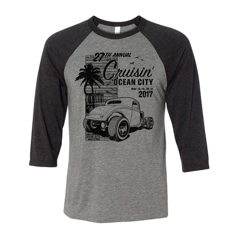 2017 Cruisin official classic car show event t-shirt gray 3/4 sleeve raglan Ocean City Maryland