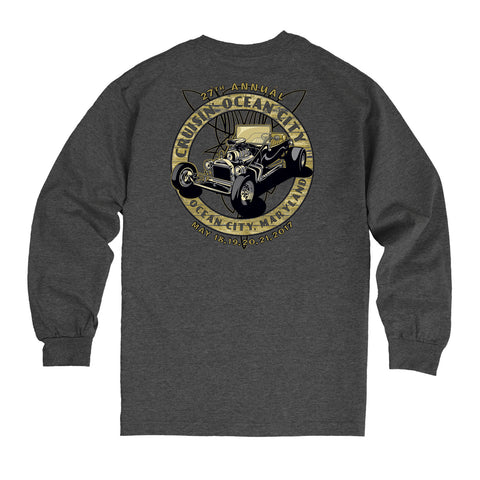 2017 Cruisin official classic car show event long sleeve heather charcoal Ocean City Maryland