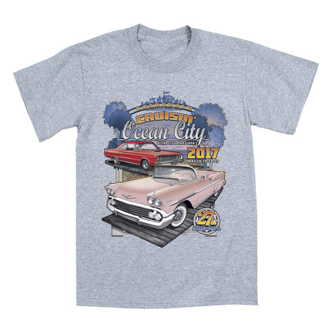2017 Cruisin official classic car show event youth t-shirt athletic gray Ocean City, MD