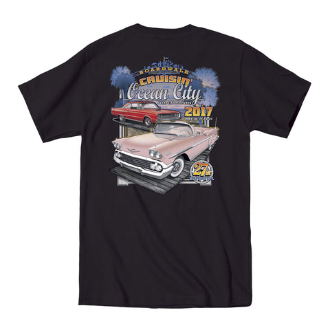 2017 Cruisin official classic car show event t-shirt black Ocean City Maryland