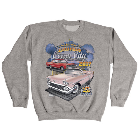 2017 Cruisin official classic car show event gray crew sweatshirt Ocean City MD