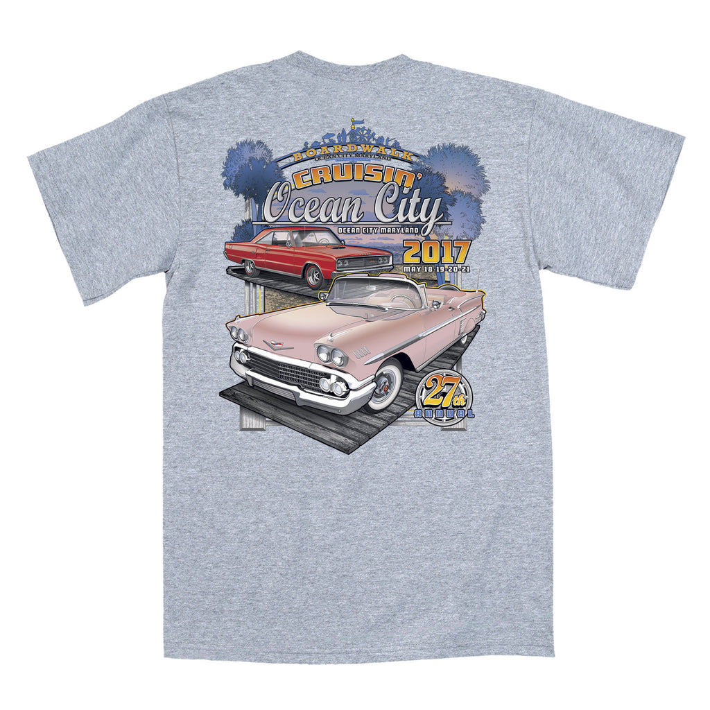 2017 Cruisin Official Classic Car Show Event T Shirt Gray