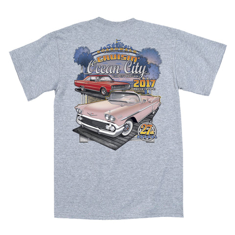 2017 Cruisin official classic car show event t-shirt gray Ocean City Maryland