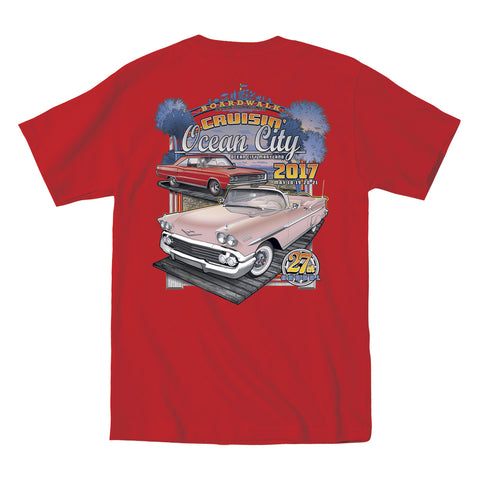 SALE - 2017 Cruisin official classic car show event t-shirt red pocket Ocean City Maryland