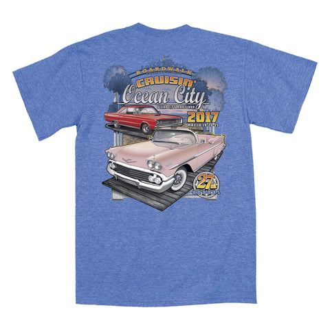 2017 Cruisin official classic car show event t-shirt heather royal Ocean City Maryland