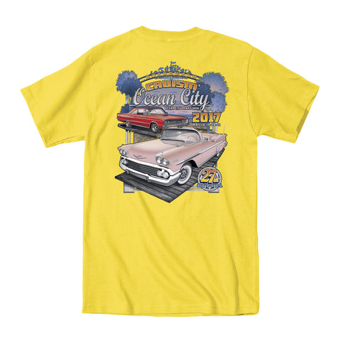 2017 Cruisin official classic car show event t-shirt yellow Ocean City Maryland