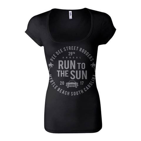 SALE ITEM 2017 Run to the Sun official car show event women t-shirt black scoop neck