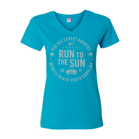 2017 Run to the Sun official car show event women t-shirt turquoise v-neck