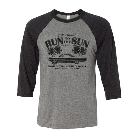 2017 Run to the Sun official car show event t-shirt gray 3/4 sleeve raglan Myrtle Beach, SC
