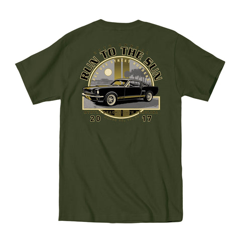 SALE ITEM 2017 Run to the Sun official car show event t-shirt Military Green Myrtle Beach, SC