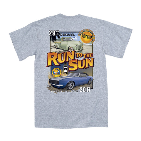 2017 Run to the Sun official car show event t-shirt athletic gray Myrtle Beach, SC