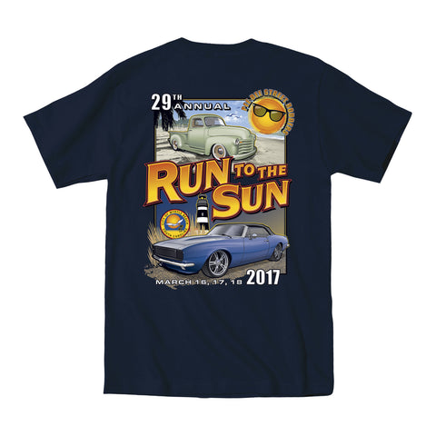 2017 Run to the Sun official car show event t-shirt navy Myrtle Beach, SC