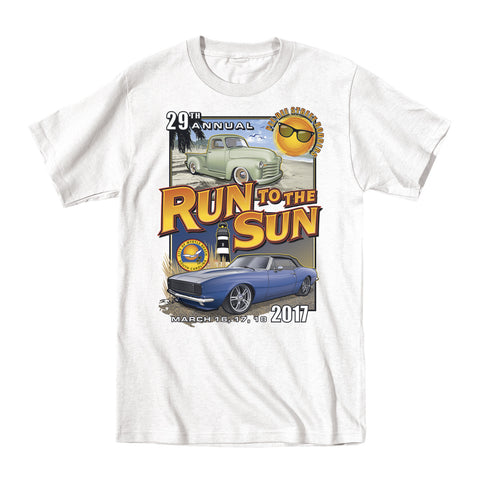 2017 Run to the Sun official car show event t-shirt white Myrtle Beach, SC