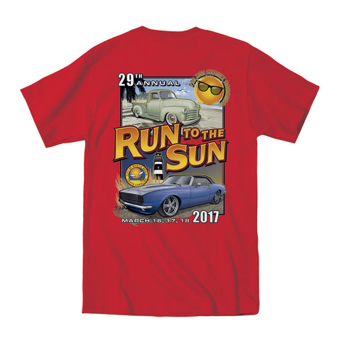 2017 Run to the Sun official car show event t-shirt red pocket Myrtle Beach, SC