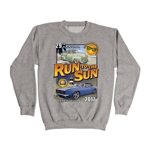 2017 Run to the Sun official car show event gray sweatshirt Myrtle Beach, SC