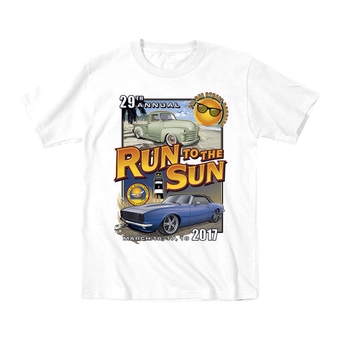 2017 Run to the Sun official classic car show event youth t-shirt white Myrtle Beach, SC