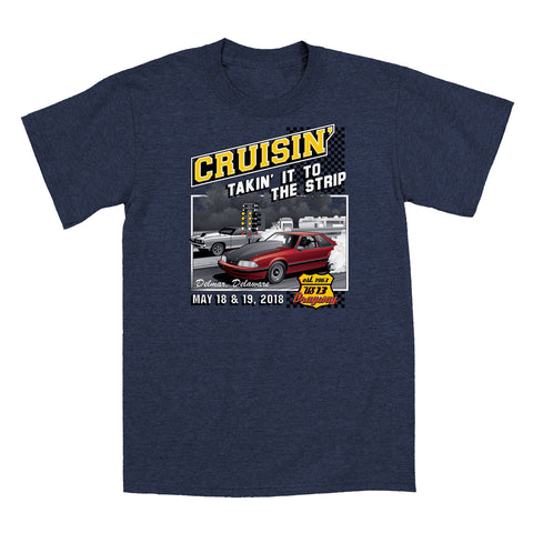 SALE - 2018 Cruisin official classic car show event t-shirt heather navy OC MD - US 13 Dragway