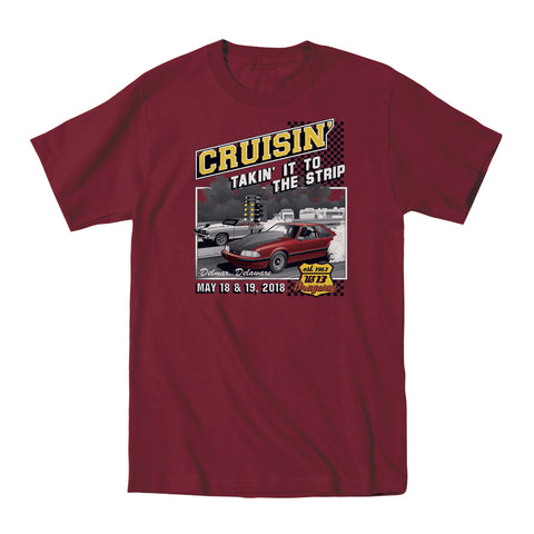 SALE - 2018 Cruisin official classic car show event t-shirt maroon Ocean City MD - US 13 Dragway