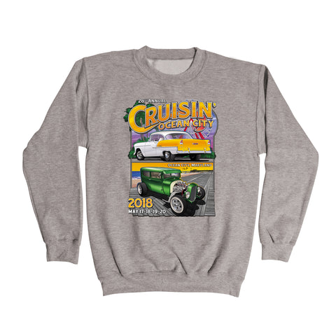 2018 Cruisin official classic car show event gray sweatshirt Ocean City Maryland