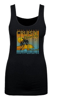 2018 Cruisin official classic car show women's t-shirt black tank top Ocean City, MD