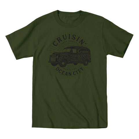 2018 Cruisin official classic car show event t-shirt military green Ocean City alt version