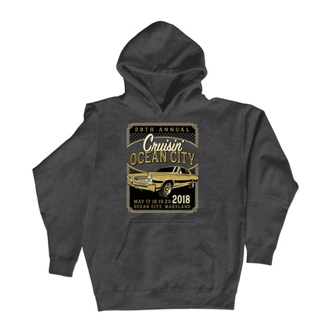 2018 Cruisin official classic car show event charcoal hoodie Ocean City Maryland