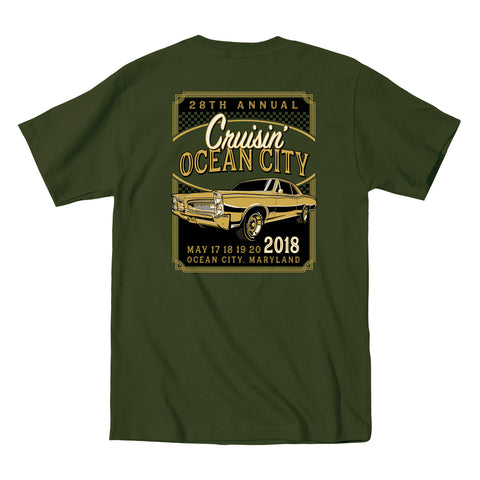 2018 Cruisin official classic car show event t-shirt military green Ocean City MD