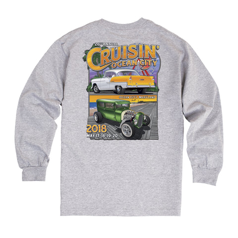2018 Cruisin official classic car show event long sleeve t-shirt gray Ocean City Maryland