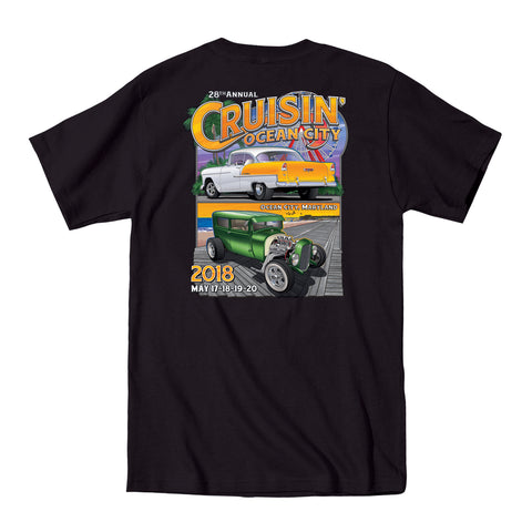 2018 Cruisin official classic car show event pocket t-shirt black Ocean City Maryland