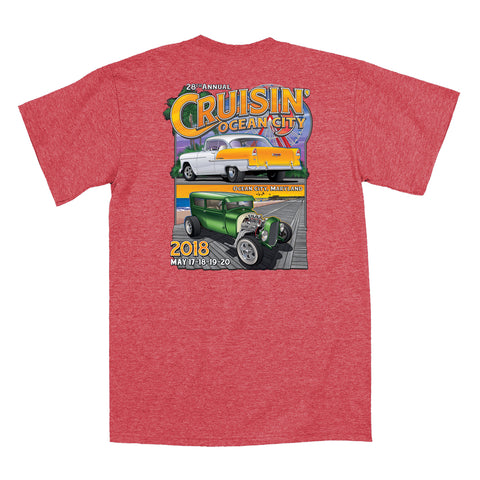 SALE - 2018 Cruisin official classic car show event t-shirt heather red Ocean City MD