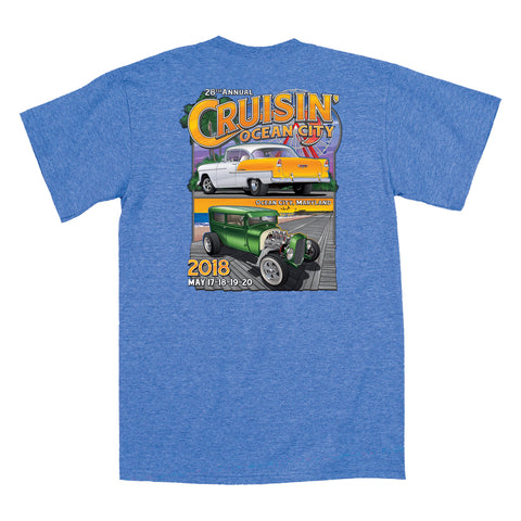 2018 Cruisin official classic car show event t-shirt heather royal blue Ocean City Maryland