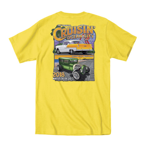 2018 Cruisin official classic car show event t-shirt yellow Ocean City Maryland
