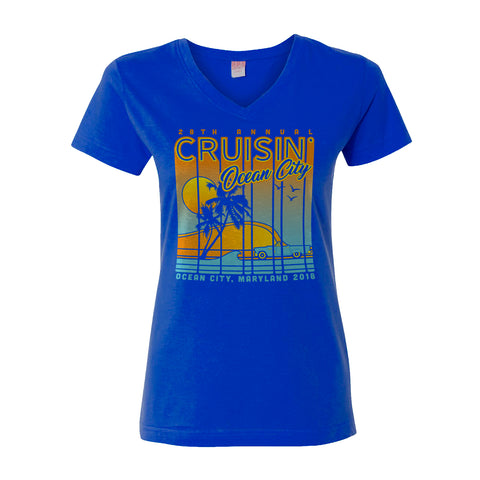 2018 Cruisin official classic car show women's t-shirt royal blue v-neck Ocean City MD