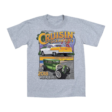 2018 Cruisin official classic car show event youth t-shirt athletic gray Ocean City, MD