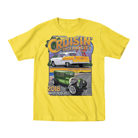2018 Cruisin official classic car show event youth t-shirt yellow Ocean City, MD