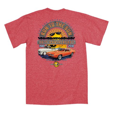 2018 Run to the Sun official car show event heather red t-shirt Myrtle Beach, SC