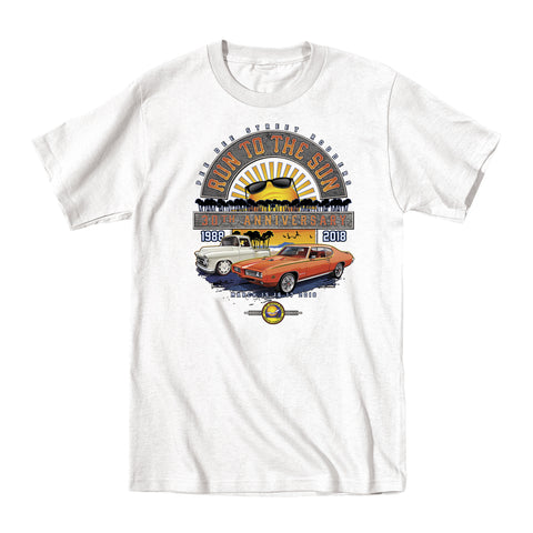 2018 Run to the Sun official car show event white t-shirt Myrtle Beach, SC