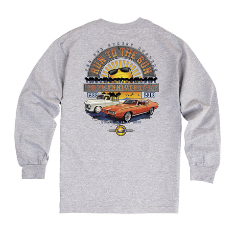 2018 Run to the Sun official car show event long sleeve t-shirt gray Myrtle Beach, SC